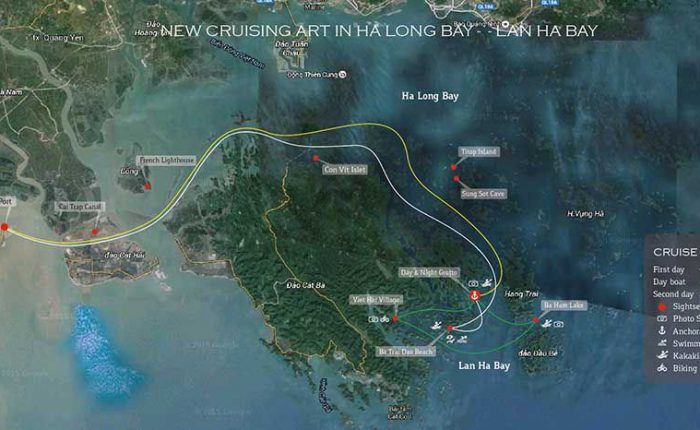 route map orchid cruise halong bay